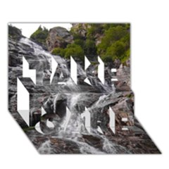 Mountain Waterfall Take Care 3d Greeting Card (7x5)