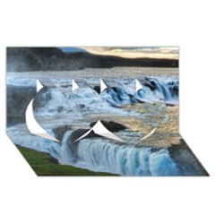 Gullfoss Waterfalls 2 Twin Hearts 3d Greeting Card (8x4)