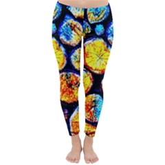 Woodpile Abstract Winter Leggings  by Costasonlineshop