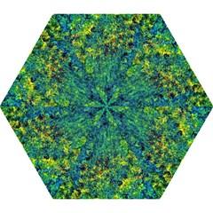 Flowers Abstract Yellow Green Mini Folding Umbrellas by Costasonlineshop