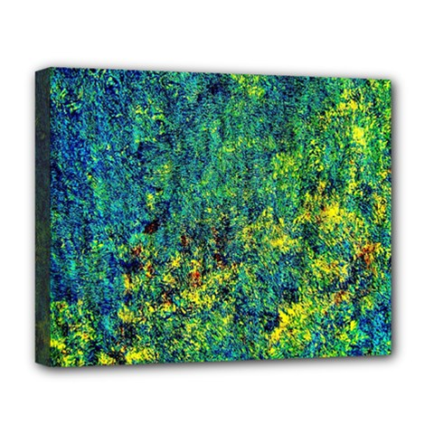 Flowers Abstract Yellow Green Deluxe Canvas 20  X 16