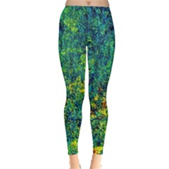 Flowers Abstract Yellow Green Women s Leggings by Costasonlineshop
