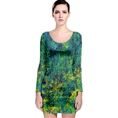 Flowers Abstract Yellow Green Long Sleeve Bodycon Dresses
