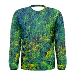 Flowers Abstract Yellow Green Men s Long Sleeve T Shirts