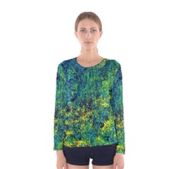 Flowers Abstract Yellow Green Women s Long Sleeve T Shirts by Costasonlineshop