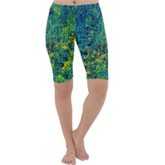 Flowers Abstract Yellow Green Cropped Leggings by Costasonlineshop