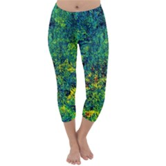 Flowers Abstract Yellow Green Capri Winter Leggings  by Costasonlineshop
