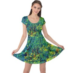 Flowers Abstract Yellow Green Cap Sleeve Dresses by Costasonlineshop
