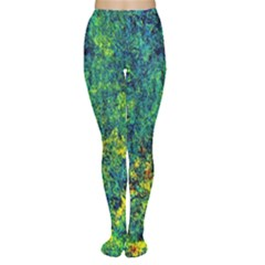 Flowers Abstract Yellow Green Women s Tights