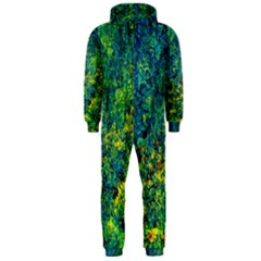 Flowers Abstract Yellow Green Hooded Jumpsuit (men)  by Costasonlineshop