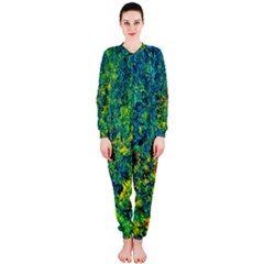 Flowers Abstract Yellow Green Onepiece Jumpsuit (ladies)  by Costasonlineshop