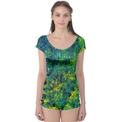 Flowers Abstract Yellow Green Short Sleeve Leotard by Costasonlineshop
