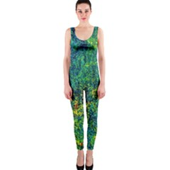 Flowers Abstract Yellow Green Onepiece Catsuits by Costasonlineshop
