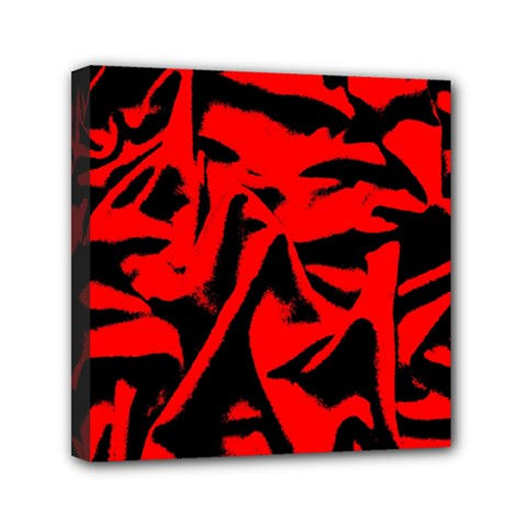 Red Black Retro Pattern Mini Canvas 6  X 6