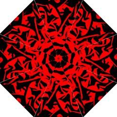 Red Black Retro Pattern Straight Umbrellas
