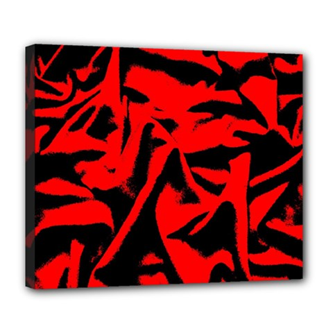 Red Black Retro Pattern Deluxe Canvas 24  X 20   by Costasonlineshop