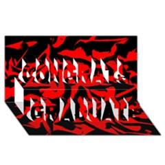 Red Black Retro Pattern Congrats Graduate 3d Greeting Card (8x4)