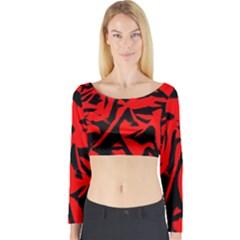 Red Black Retro Pattern Long Sleeve Crop Top