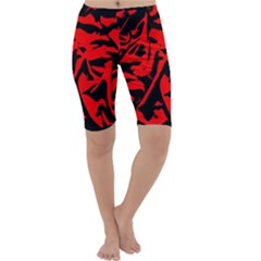 Red Black Retro Pattern Cropped Leggings by Costasonlineshop