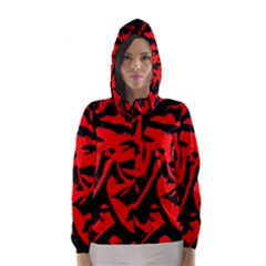 Red Black Retro Pattern Hooded Wind Breaker (women)