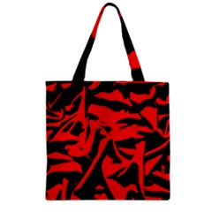 Red Black Retro Pattern Zipper Grocery Tote Bags by Costasonlineshop