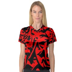 Red Black Retro Pattern Women s V Neck Sport Mesh Tee by Costasonlineshop