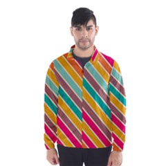 Colorful Diagonal Stripes Wind Breaker (men)