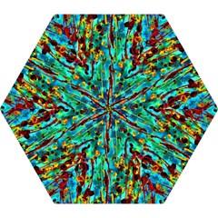 Turquoise Blue Green  Painting Pattern Mini Folding Umbrellas by Costasonlineshop