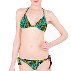 Turquoise Blue Green  Painting Pattern Bikini Set by Costasonlineshop