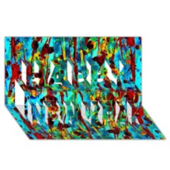 Turquoise Blue Green  Painting Pattern Happy New Year 3d Greeting Card (8x4)  by Costasonlineshop