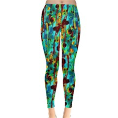 Turquoise Blue Green  Painting Pattern Women s Leggings by Costasonlineshop