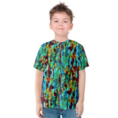 Turquoise Blue Green  Painting Pattern Kid s Cotton Tee by Costasonlineshop