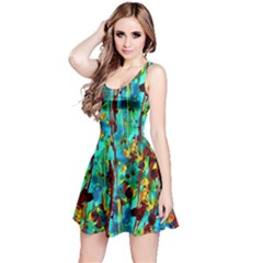 Turquoise Blue Green  Painting Pattern Reversible Sleeveless Dresses by Costasonlineshop