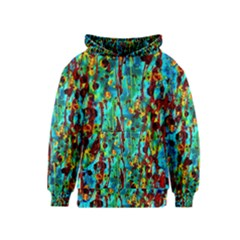 Turquoise Blue Green  Painting Pattern Kid s Pullover Hoodies by Costasonlineshop