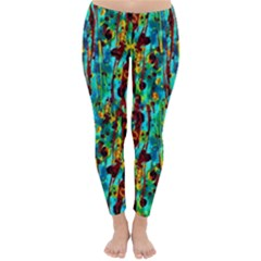 Turquoise Blue Green  Painting Pattern Winter Leggings  by Costasonlineshop
