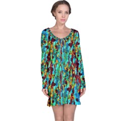 Turquoise Blue Green  Painting Pattern Long Sleeve Nightdresses