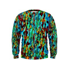 Turquoise Blue Green  Painting Pattern Boys  Sweatshirts