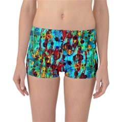 Turquoise Blue Green  Painting Pattern Reversible Boyleg Bikini Bottoms by Costasonlineshop