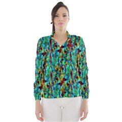 Turquoise Blue Green  Painting Pattern Wind Breaker (women)