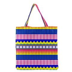 Rectangles Waves And Circles Grocery Tote Bag by LalyLauraFLM