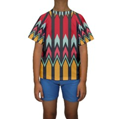 Waves and other shapes pattern  Kid s Short Sleeve Swimwear