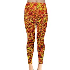 Orange Yellow  Saw Chips Women s Leggings by Costasonlineshop