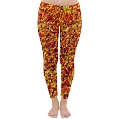 Orange Yellow  Saw Chips Winter Leggings