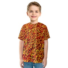 Orange Yellow  Saw Chips Kid s Sport Mesh Tees