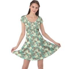 Lovely Flower Pattern Cap Sleeve Dress