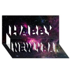 Purple Clouds Happy New Year 3d Greeting Card (8x4)