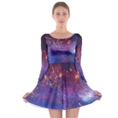Milky Way Center Long Sleeve Skater Dress by trendistuff