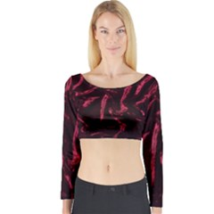 Luxury Claret Design Long Sleeve Crop Top by Costasonlineshop