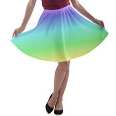 Rainbow Colors A Line Skater Skirt