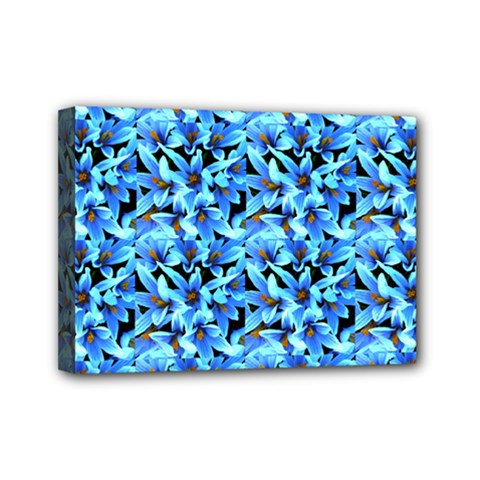 Turquoise Blue Abstract Flower Pattern Mini Canvas 7  X 5  by Costasonlineshop
